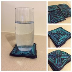 Set of four coasters made from self hardening clay. Painted with acrylic and glazed. Waterproof. For sale in my Etsy store. https://www.etsy.com/shop/TheLegitimateGiraffe