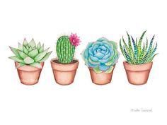 Succulent watercolor art print. Cactus painting. Plant wall art. Cute botanical print. Potted cactus illustration. Modern plant room decor.