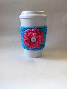 Hot pink and blue crochet flower coffee cup cozy