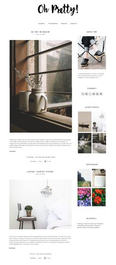 Oh Pretty - a Squarespace template (theme) design customization that's perfect for lifestyle bloggers #minimal #clean #blogdesign