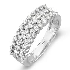 1.00 Carat (ctw) 14k White Gold Round Diamond Ladies Anniversary Wedding Band Ring 1 CT $719.00