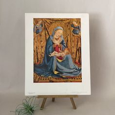 Vintage Print of The Madonna of Humility by Fra Angelico 14 x | Etsy Retro Pink Kitchens, Fra Angelico, National Gallery Of Art, Catholic Art, Humility, Porch Decorating, Vintage Prints, Altered Art, Photo Cards