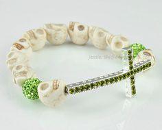 Ivory Skull Bracelet Green Crystal Bracelet Sideways by GemPearls, $5.87