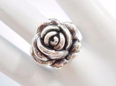 Vintage Sterling Silver Rose Flower Ring Sz 6  #1787