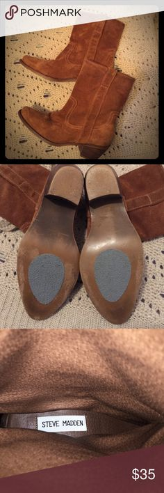 STEVE MADDEN, Suede leather booties. 6.5 Great gently used condition! These western style booties are genuine leather, suede in very good condition! These are cute with skirts, shorts, leggings and skinny jeans! Steve Madden Shoes Ankle Boots & Booties