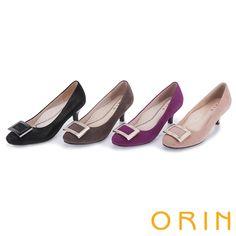 2480-都會魅力 舒適柔軟羊皮方釦中跟鞋-紫色 - 45-55/85-95 咖50/75/85-95----5.5CM