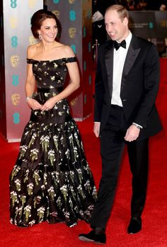 Kate Middleton in an off-the-shoulder Alexander McQueen dress with Prince William - click ahead for more best dressed at the 2017 BAFTA awards