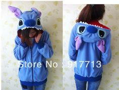 New Arrival !  Blue Stitch Fashion Animal Hoodie Lovely Stitch Japan Cosplay Ears Face Tail Zip Hoody Sweatshirt Hoodie Costumes