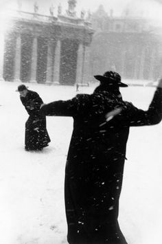Vatican City—Pope John XXIII enjoys the snow, 1958. Popes are people, too<3