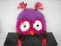 Plum Purple and Choclate Brown Baby Owl Hat by mandag433 on Etsy, $22.00