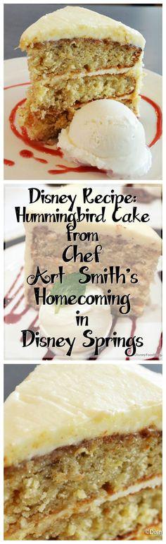 Disney Recipe for Hummingbird Cake from Chef Art Smith's Homecoming in Disney Springs #DisneyRecipe Disney Desserts, Disney Dishes, Köstliche Desserts, Delicious Desserts, Dessert Recipes, Disney Recipes, Summer Cake Recipes, Yummy Recipes, Yummy Food