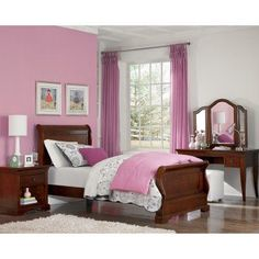 NE Kids Walnut Street Riley Sleigh Bed - Chestnut - 9035NS, Durable