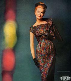 Sara Thom wearing a dress by Mardi Gras 1960