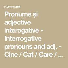 Pronume și adjective interogative - Interrogative pronouns and adj. - Cine / Cat / Care / câți, câte - YouTube Interrogative Pronouns, Education, Youtube, Studying, Onderwijs, Learning, Youtubers, Youtube Movies