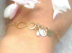 gold infinity mother daughter bracelet gold by natashaaloha, $46.00