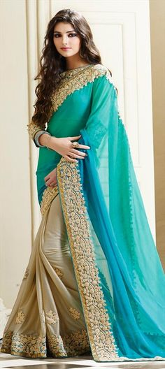178248 Beige and Brown, Blue  color family Embroidered Sarees, Party Wear Sarees in Faux Chiffon, Lycra, Shimmer fabric with Lace, Machine Embroidery, Zari work   with matching unstitched blouse.