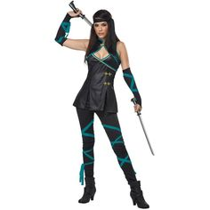 Sexy Ninja Costume ($25) ❤ liked on Polyvore featuring costumes, halloween costumes, ninja warrior costume, dragon costume, sexy costumes, ninja costume and sexy halloween costumes