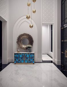 Family villa Contemporary Arabic Interior Design 3 - Double height entrance lobby of the family villa contemporary interior, with white geometric plaster work and pointed arches that bring the Arabic Bedroom Design, Decor Interior Design, Luxury Design, Arabian Decor, Traditional Interior Design, Trending Decor, Luxury Interior, Luxury Home Decor, Arabic Decor
