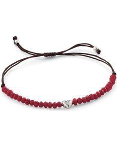 Sterling Heart Red Bead Bracelet