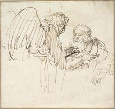 Rembrandt Harmensz van Rijn - Abraham Conversing with the Angel, c. pen and brown ink Gesture Drawing, Life Drawing, Figure Drawing, Drawing Sketches, Painting & Drawing, Art Drawings, Rembrandt Drawings, Harvard Art Museum, Drawing Studies