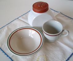 Vintage Restaurant Ware Red and White Green Stripe by pinkpainter