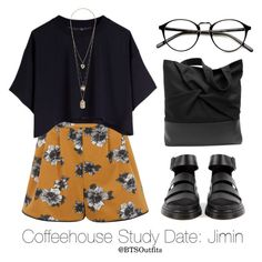 """Coffeehouse Study Date: Jimin"" by btsoutfits ❤ liked on Polyvore featuring Miss Selfridge and Cheap Monday"