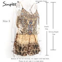 Leopard print brown jumpsuits romper women Summer beach sexy sleeveless overalls Backless strap chiffon playsuit