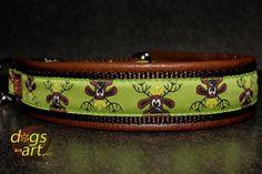 dogs-art RUDI Easy Release Alu Buckle Leather Collar - dark brown/brown/rudi green