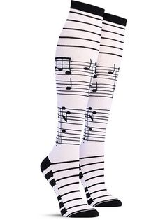 Foot notes… not like the dreaded citations your professor would pull exam questions from in college. Instead these musical note socks will help you sharpen up your style before your wardrobe falls fla