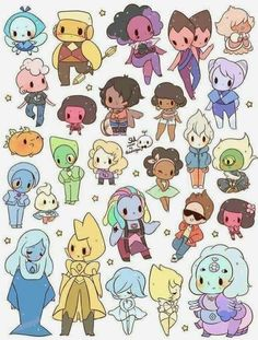 cute chibi Steven Universe characters I love all of them but my favorite is pink Lars. Comment what is your favorite one Steven Universe Wallpaper, Chibi Steven Universe, Steven Universe Stickers, Steven Universe Drawing, Universe Art, All Steven Universe Characters, Steven Universe Stevonnie, Steven Univese, Fan Art