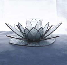 Stained Glass Lotus Flower Candle Holder