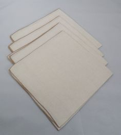 12 Beige Linen Napkins 16 Vintage Full Size by ShellyisVintage