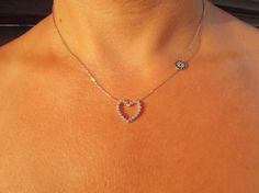 evil eye necklace love925 sterling silver Chrystal by ebrukjewelry