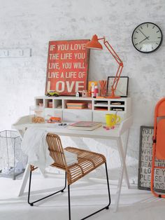 Teens girl room . Nice desk with an industrial accessories - from an German store Car Moebel Lookbook