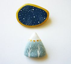 FREE SHIPPING - Mountain brooch - One of a kind - Paper clay native mountain pin - Gift Under 25 dollars - Stocking stuffer
