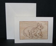 Cat Greeting Card  Wood Pyrography  Celtic Cat Wood by bkinspired, $6.00