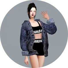 ACC Vintage Denim Jacket at Marigold via Sims 4 Updates