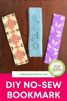 Are your kids asking to MAKE something today? This easy fabric bookmark craft is fun to make for grade school-age children and even teens. The last step of decorating the bookmarks can be as simple or intricate as you want to make it. No sewing is required but measuring, hot glue and ironing skills can be taught through this simple project. When they are done they make great gifts for friends or even a parent! Green Crafts For Kids, Bookmark Craft, Sewing, Fun, Dressmaking, Couture, Stitching, Sew, Costura