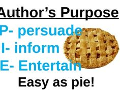 Anchor sign for Author's purpose which gives students an easy way to remember the three most common reasons why author's write: persuade, inform, entertain