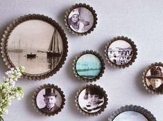 Récup brocante plat à tarte et moule à gateaux ancien en guise de décoration murale ou cadre photo / Merci pour l'idée ! On détourne ses ustensiles de cuisine..