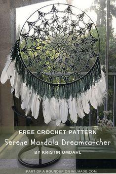 Crochet Dreamcatcher Pattern Free, Motif Mandala Crochet, Crochet Thread Patterns, Crochet Doilies, Crochet Designs, Dishcloth Crochet, Crochet Coaster, Crochet Afghans, Crochet Blankets