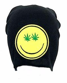 Marijuana Leaf Eye Yellow Smiley Face Black Beanie Pot Weed Green Hat Ski Cap #Clover #Beanie