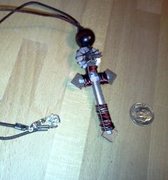 Painted Steel Pendant Cross with Beads and by RuggedCross777, $13.50