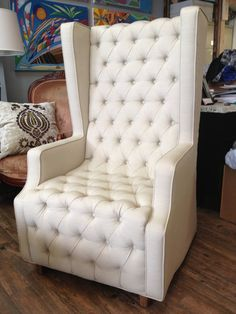 Unique Oversized Tufted Cream/White Wingback by SimplyUpholstery, $1299.00
