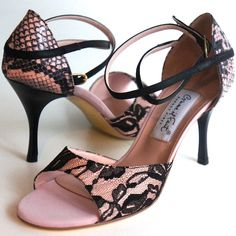 www.felinashoes.com Argentine Tango Shoes from Comme il Faut shoes. Black lace and pink fabric. Leather stilettos. Sizes 4 (34), Size 5 (35), Size 6 (36), Size 7 (37), Size 8 (38), Size 9 (39), Size 10 (40), Size 11 (41)