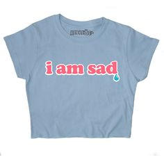 I Am Sad 90s Crop Top Crybaby Kawaii Grunge Pastel Pink Blue Yellow... ($18) ❤ liked on Polyvore featuring tops, pink top, loose fitting tops, loose crop top, print crop tops and crop top