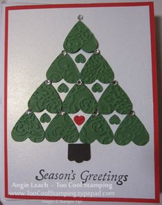 handmade Christmas card: Club - peggy heart tree ... punch art with embossing folder textured hearts ...
