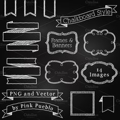 Chalkboard Elements Clipart & Vector by PinkPueblo on Creative Market