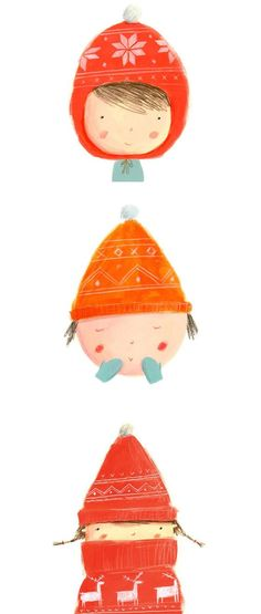 Ekaterina Trukhan Illustration | Grab a hat and a scarf for your little one before they go out in the cold!: