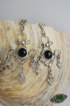 #earrings - silver and onyx